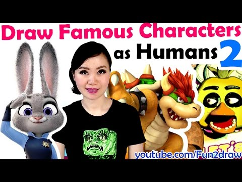 Draw Famous MOVIE  GAME Characters as HUMANS ★ ART CHALLENGES!  Mei Yu