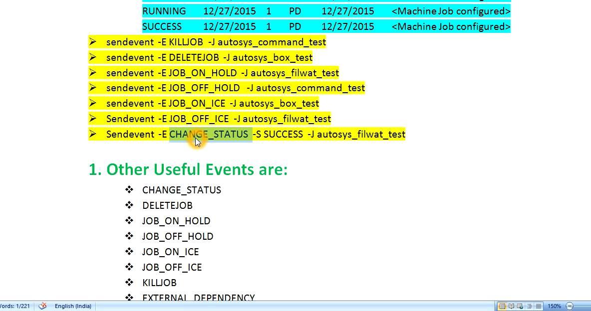 Unix Autosys Job Sendevent