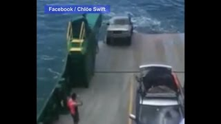 Unsecured Car Rolls Off Ferry