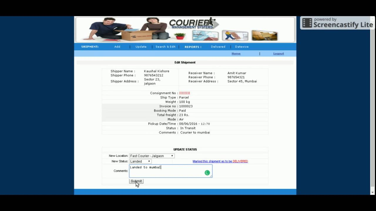 PHP and MySQL Project on Courier Management System