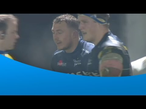 Josh Charnley scores his first Sale Sharks' try in style