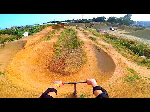 TOP SPEED ON DIRT SCOOTER ON INSANE PUMP TRACK!