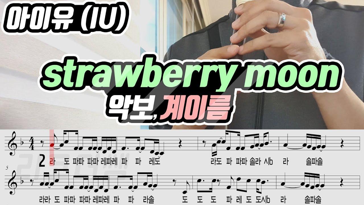 아이유(IU) strawberry moon 악보 리코더 연주