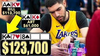 AK vs KK with $124,000 On the Line ♠ Live at the Bike!