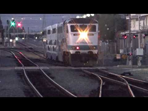 Nightfall At The  Metrolink Orange Station - Metrolink Train Arriving