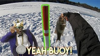 Ice Fishing for Smallmouth in New Hampshire. Aiming for BUOYs!!