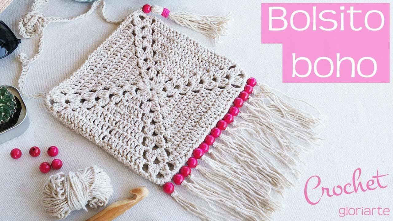 Bolso granny de ganchillo estilo boho. Granny crochet bag boho style ...