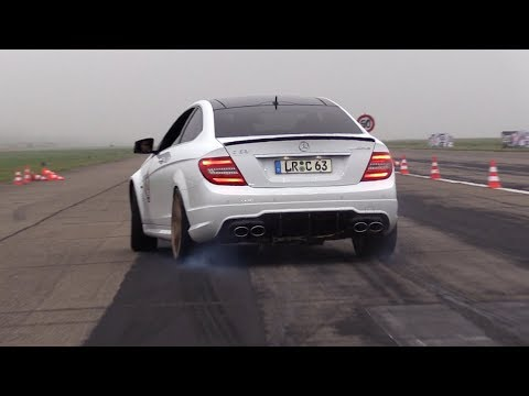 Mercedes-Benz C63 AMG Coupé - LOUD Revs, Accelerations, Drag Racing!