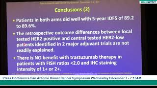 SABCS 2017: Adjuvant Trastuzumab Did Not Improve Outcomes for Patients With HER2-low Breast Cancer