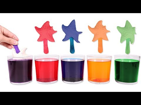 Learn colors for children 13 🌈 Painting Play Doh stars