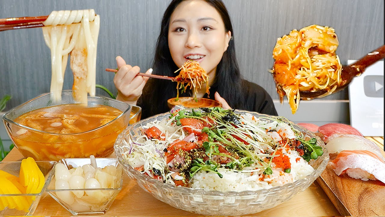 MUKBANG) 광어회 연어회 듬뿍🐟 회덮밥 먹방 +우동, 초밥 Seafood Bibimbap ASMR Real Sound eating