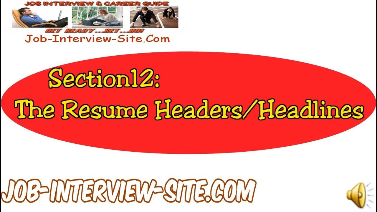 resume headers and headlines how to write good resume headlines