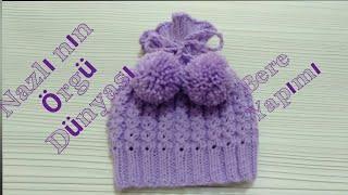 knitted baby beret-Bebek beresi nasıl yapılır?-kahve çekirdeği modelli bere yapılışı