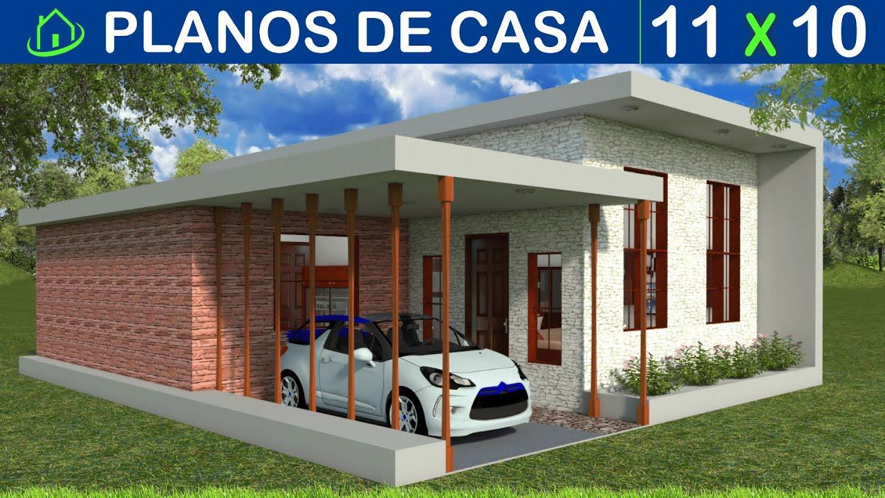 Planos Gratis Casa Minimalista ECONÓMICA 2 Dormitorios 1 Baño Garaje jardinera SALA/COMEDOR 9x11Mts