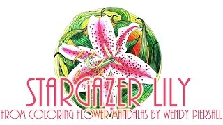 Stargazer Lily Time Lapse Watercolor from the Book Coloring Flower Mandalas