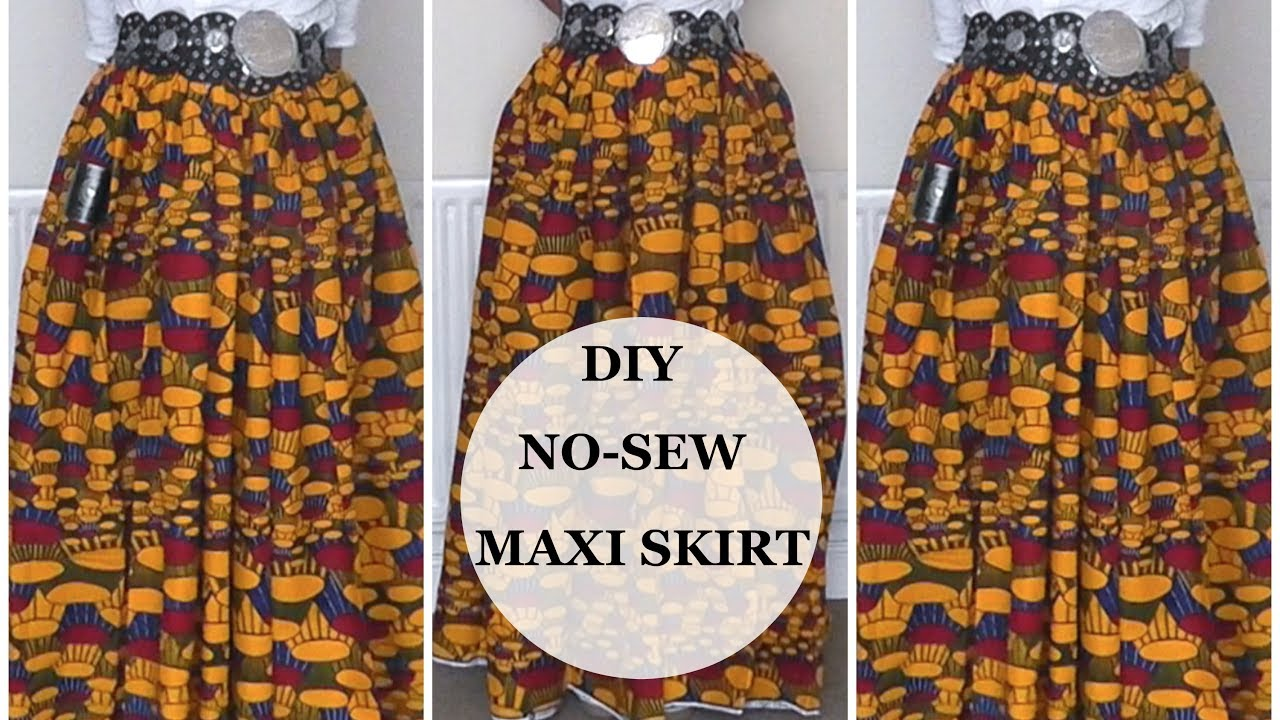 Diy No Sew Maxi Skirt No Sewing Machine Needed Very Easy