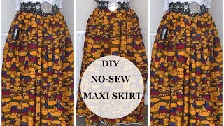 ✂️DIY :NO SEW MAXI SKIRT - NO SEWING MACHINE NEEDED || VERY EASY| IPHIE ANI