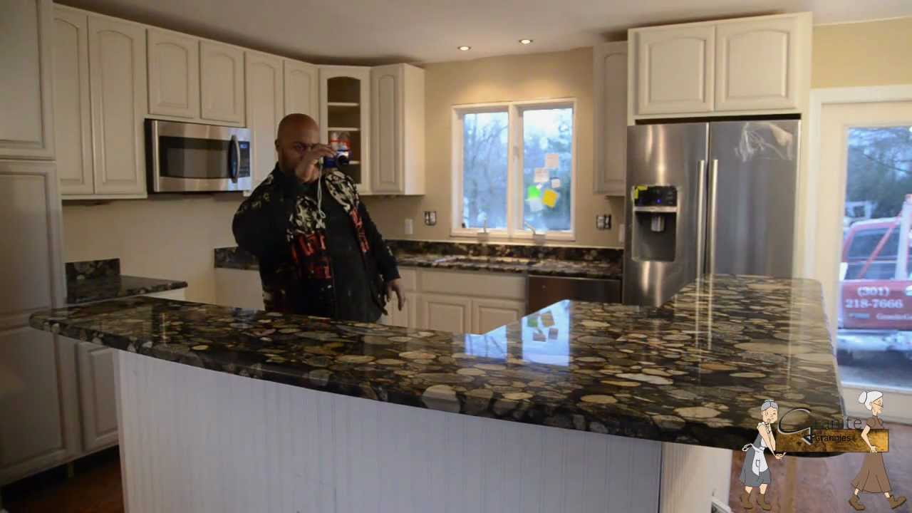 Black Mosaic Gold Granite Installation By Granite Grannies