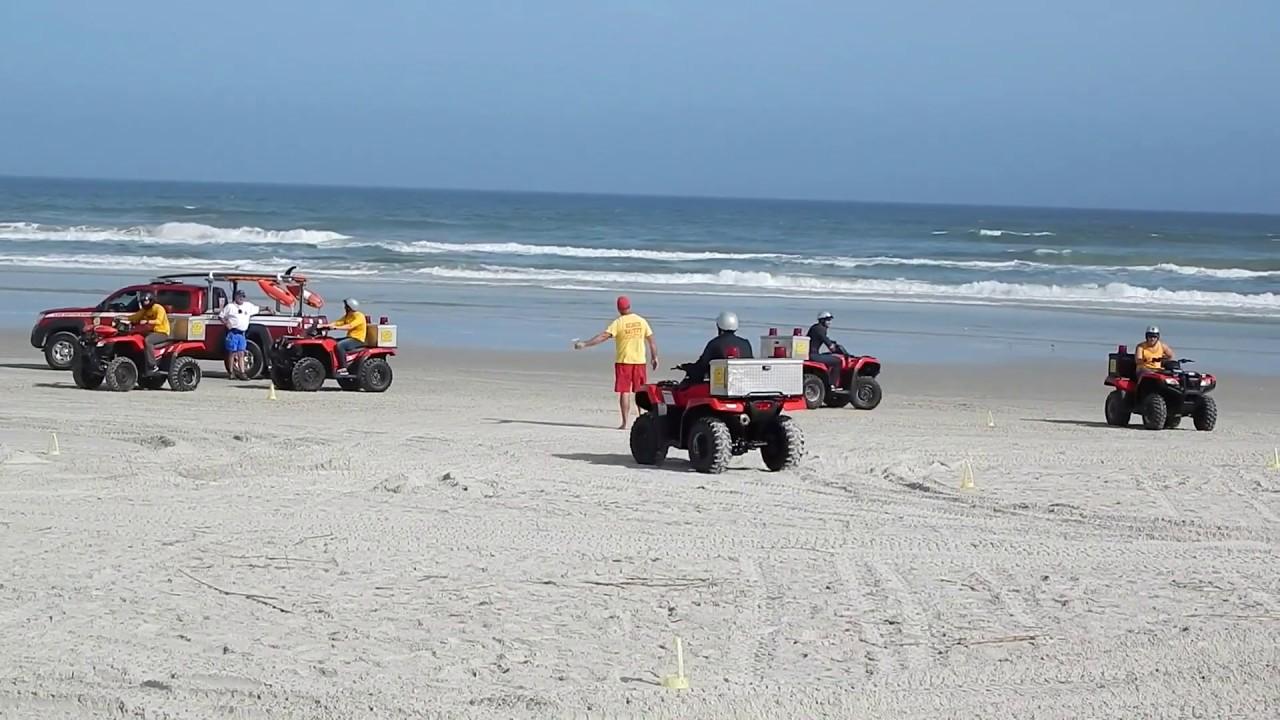 Driving Atv On Daytona Beach Liuard Training Course The