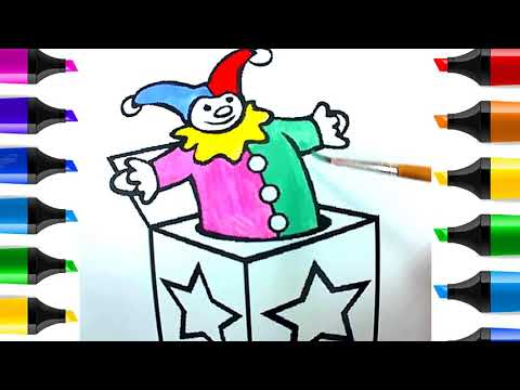 how to draw cube and clown   Coloring Book Toys for Children