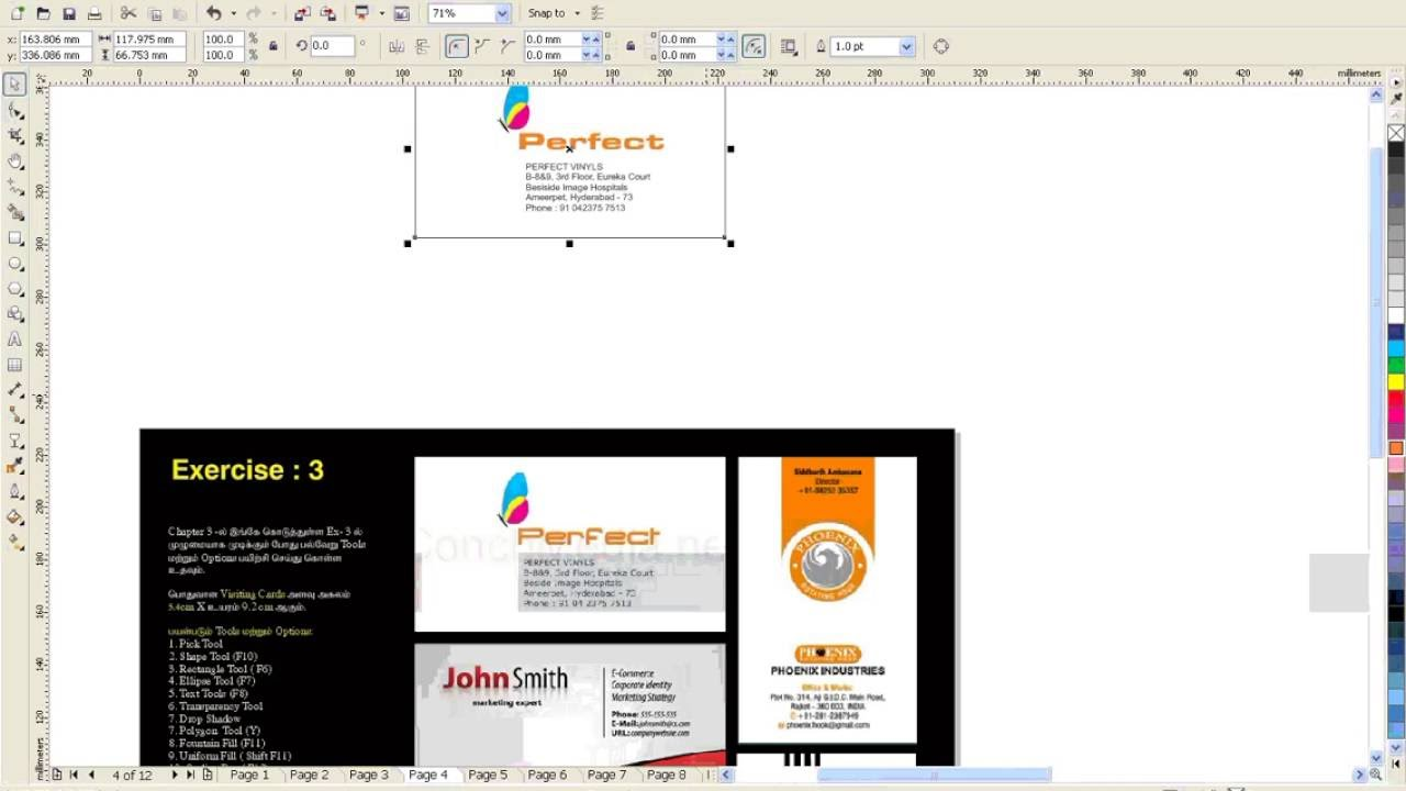 How to make visiting card in coreldraw 12