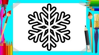 How to Draw and Color a Snowflake | Snowflake Coloring Pages for Kids | Art4Kids