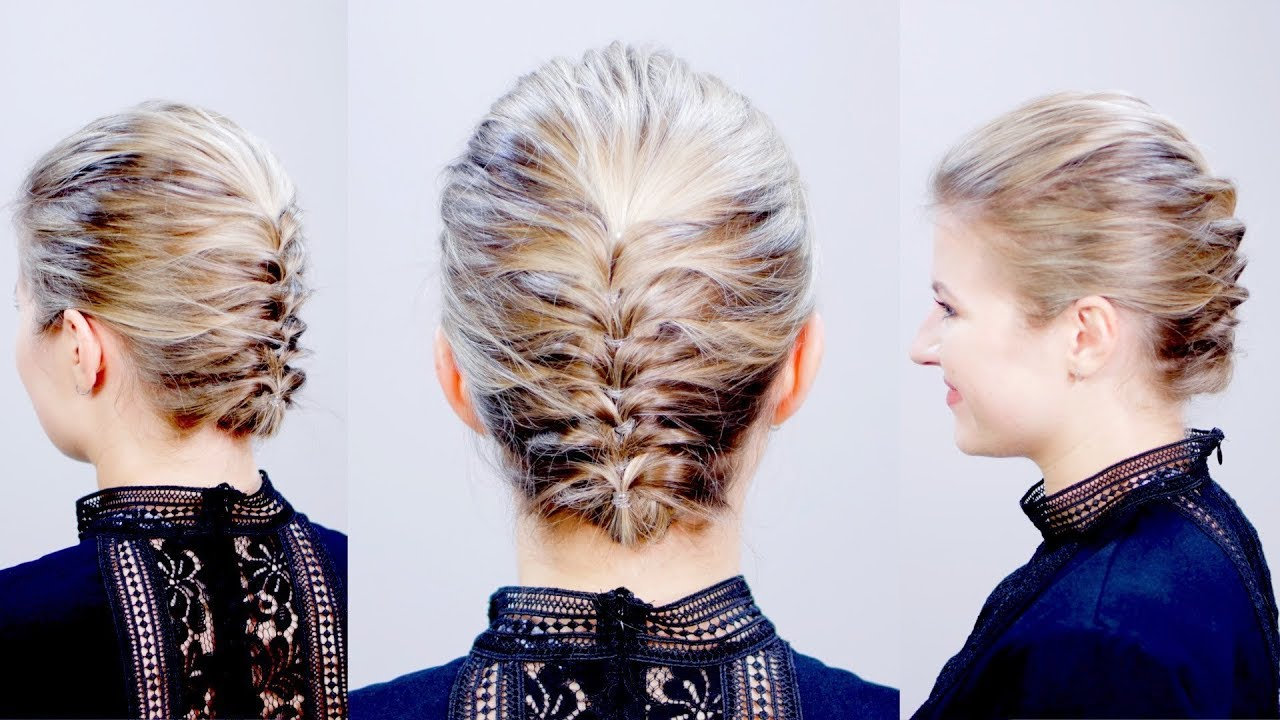 Hairstyle Of The Day Easy Elegant Textured Updo For Short Hair