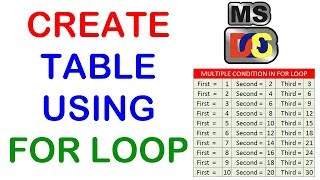 How to use for loop with multiple conditions, Create table using for loop