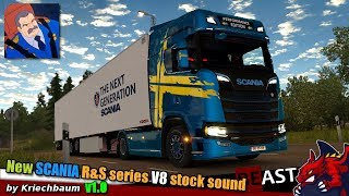 "[""ETS2"", ""Euro Truck Simulator 2"", ""sound mod New Scania R&S series V8 stock sound Kriechbaum review"", ""Kriechbaum""]"