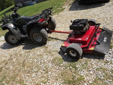 Mowing With An Atv And Swisher 44 Quot 11 H P Deck Youtube