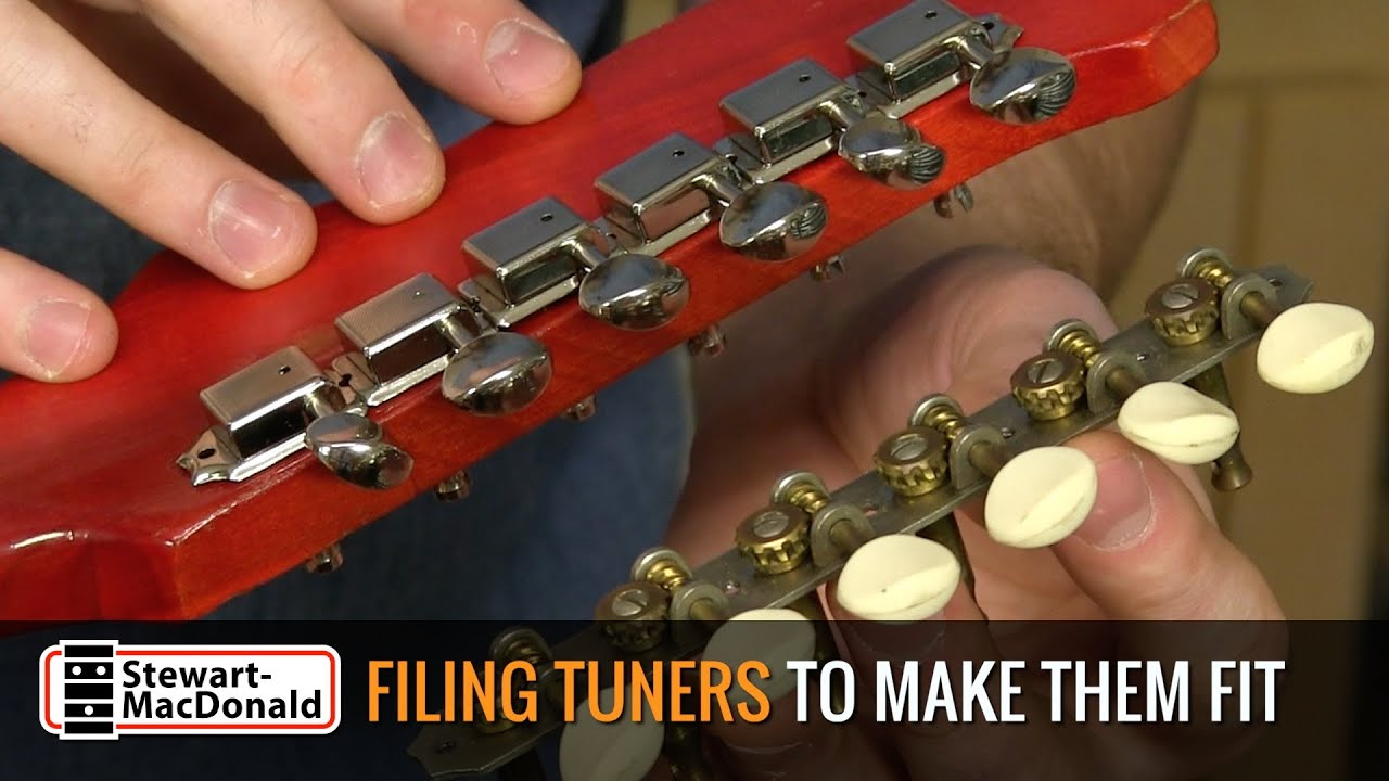 filing guitar tuners to make them fit with loop control
