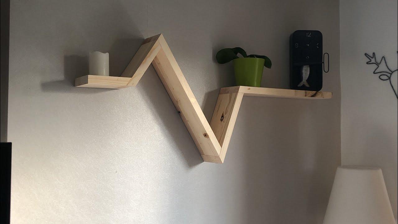 etagere design avec de la recup avec astuce de fixation murale invisible diy