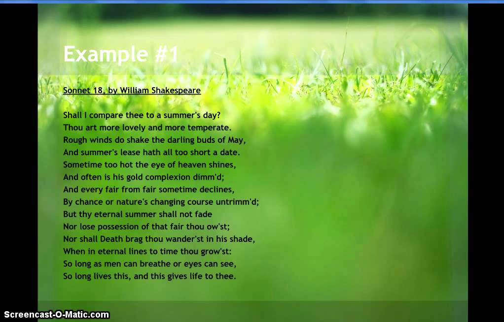 Examples Of Sonnet Poems Youtube