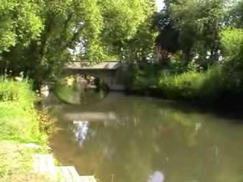 """Paddeln auf der Leine von Garbsen nach Neustadt.  Drifting down on river """"Leine""""."""