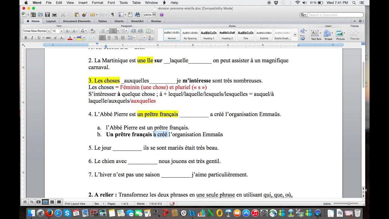 Pronoms relatifs exercice 1 - YouTube
