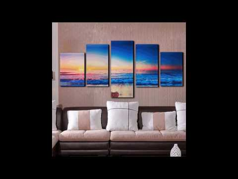5 Panels Modern Abstract Sunset Painting Canvas Beach Wall Art Picture For Living Room