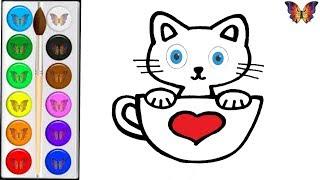 Как нарисовать КОТЕНКА / мультик раскраска КОТЕНОК В ЧАШКЕ для детей / Раскраски малышам