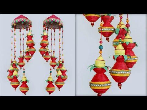 Awesome News Paper !!! Kalash Wall Hanging Craft Idea    DIY    Home Decoration Idea