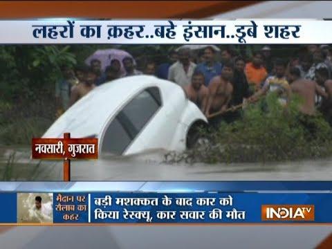 Gujarat: Driver drowns as raging river sweeps car away