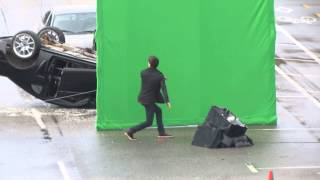Grant Gustin as Barry Allen films a scene for The Flash & almost wipes out