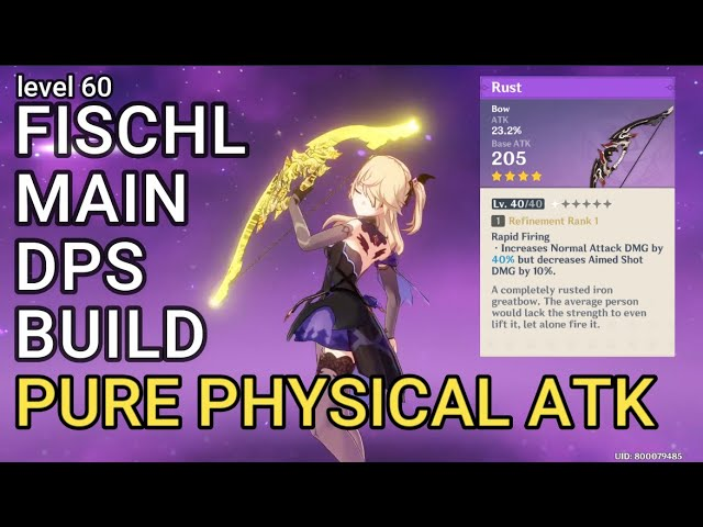 Fischl Genshin Impact Build Pure Physical Atk Boss Fight Weapon Artifacts And Team Composition Youtube