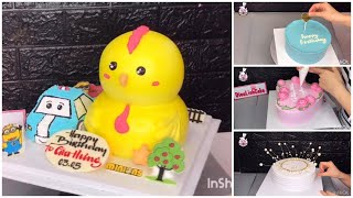 Làm bánh kem CON GÀ 3D + Ô TÔ - how make cake a chicken 3d and car - DieuLinhCake