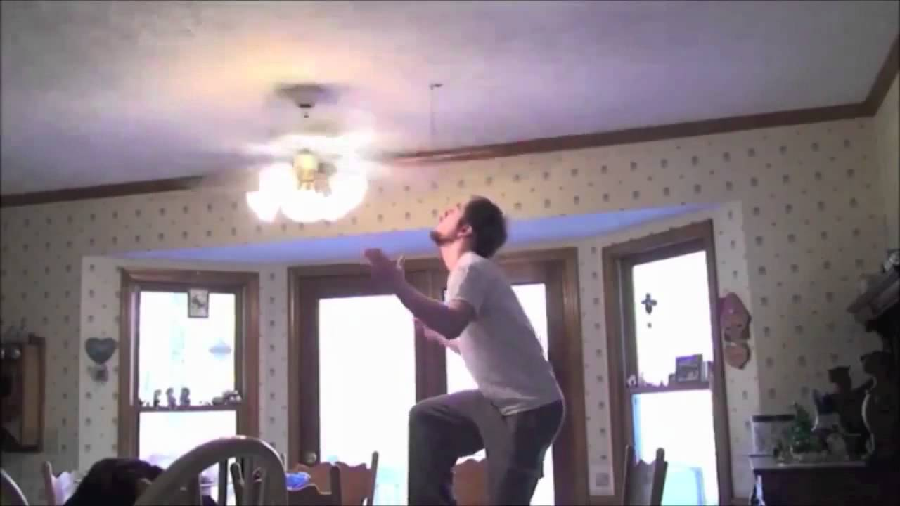 Guy jumps into a ceiling fan lmfao youtube mozeypictures Images