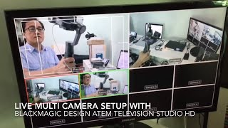 Multi-camera live switching setup with BlackMagic Design ATEM Television Studio HD