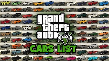 GTA 5 Cars List, Vehicles List, Cars in the Grand Theft Auto V