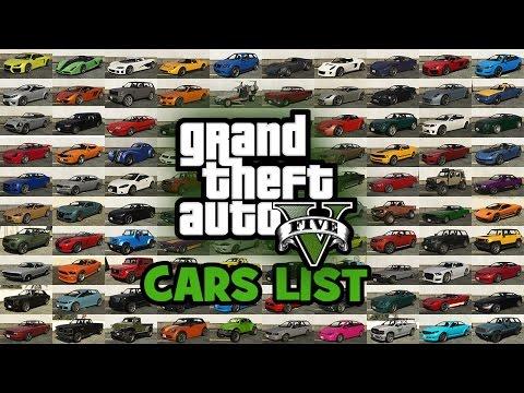 GTA 5 Cars List, Vehicles List, Cars in the Grand Theft Auto V