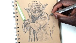 Video SKETCH SUNDAY #20 How To Draw Yoda - STAR WARS - DeMoose Art download MP3, 3GP, MP4, WEBM, AVI, FLV November 2017