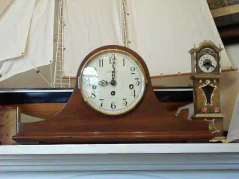howard miller mahogany tambour mantel clock