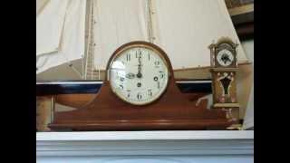 Howard Miller Mahogany Tambour Mantel Clock.