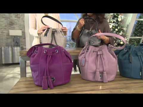 Tignanello Pebble Leather Drawstring Handbag on QVC